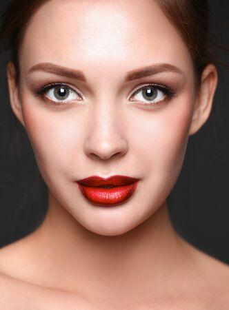 beautiful body: Close up portrait of beautiful young woman face.