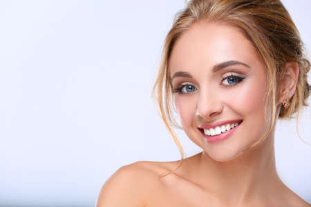 nude pretty girl: Portrait of beautiful woman on white background .