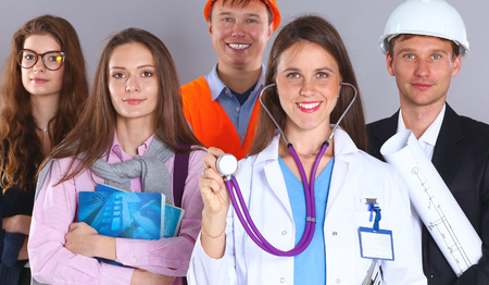 public insurance: Woman doctor and a group of workers people .