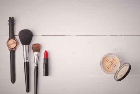 eyemakeup: Makeup brush and cosmetics, on a white background Stock Photo
