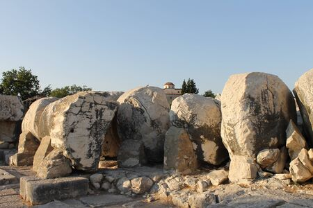 ruins is ancient: Ruins ancient Temple of Apollo Didim Turkey