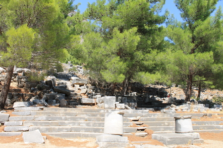 excavating: Priene ruins of an ancient antique city in Turkey Stock Photo