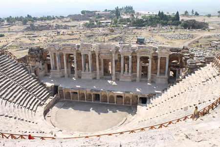 hierapolis: Hierapolis ruins of the ancient city Pamukkale in Turkey Stock Photo