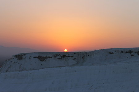 unesco: Sunset at Pamukkale health resort and nature reserve in Turkey, UNESCO sites Stock Photo