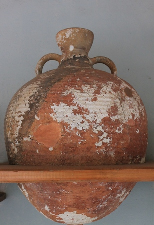 archaeologists: Antique jars and amphorae raised by archaeologists from the date of the Aegean Sea