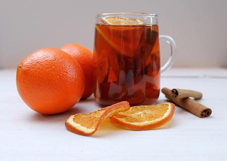dried orange: Christmas tea with dried orange and cinnamon sticks