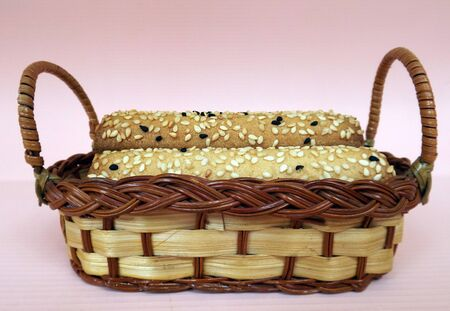 Shortbread cookies with sesame seeds and zira in a wicker basket
