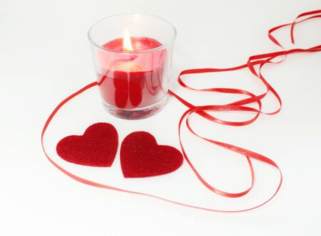 two hearts: Two hearts candle and ribbon decoration for Valentines Day
