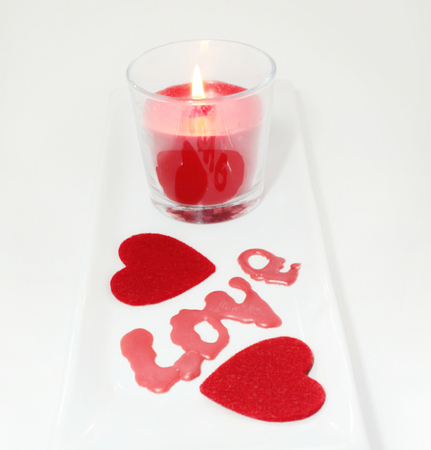 two hearts: Two hearts and candle decorations love for Valentines Day
