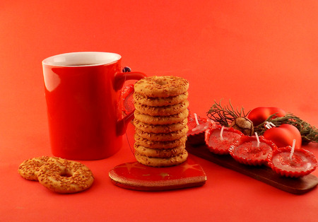 Merry Christmas and happy New Year Tea with cookies Stock Photo