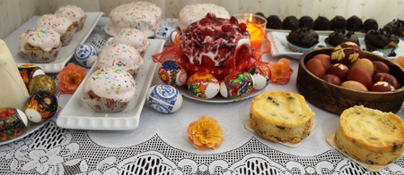 Easter table with Easter cake and painted eggs