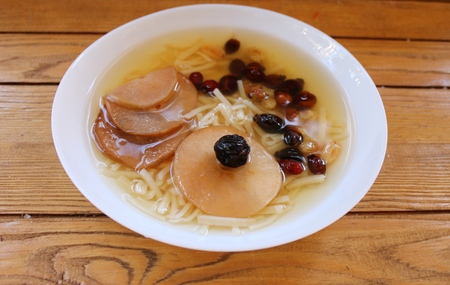 blanks: Home home-made dried noodle soup with dried fruit Stock Photo