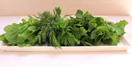 cellulose: Fragrant greens on a plate prepared for salad