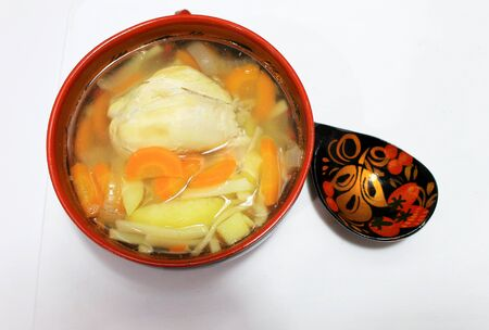 Soup of homemade noodles with chicken and vegetables