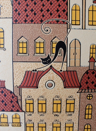 Cat walks on the roofs - wallpaper on the wall