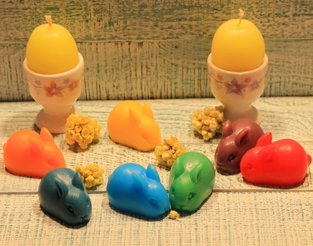 Soap multicolored Easter bunnies