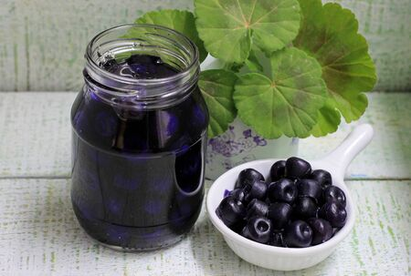 Jam of my grandmother styling blueberry jam in a glass jar