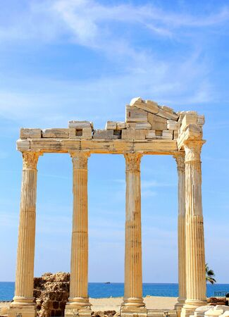 The ruins of the Temples of Apollo and Athens in Side. The second century AD. The famous architectural monument of Side, Turkey.