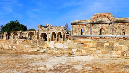 South Basilica in Side, Turkey. Architectural monument of the Byzantine era. The ruins of the Temples of Apollo and Athens.