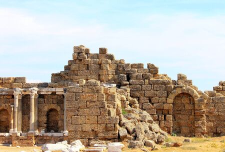 Antique ruins and sights of the Turkish resort town of Side