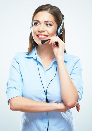 Call center vrouwelijke werknemer operator. Stockfoto