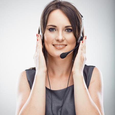 Call center operator. Telefoongesprek. Klantenservice vrouw. Geïsoleerd. Stockfoto