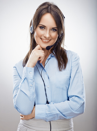 Operator call center. Customer service smiling  woman. Isolated.