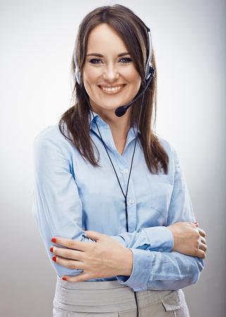 Klantenservice-operator. Jonge vrouw in het bedrijfsleven. Geïsoleerd. Stockfoto
