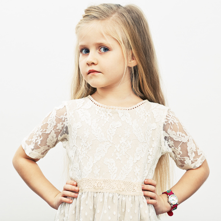 Child girl model portret in fashion style. Isolated. Stock Photo