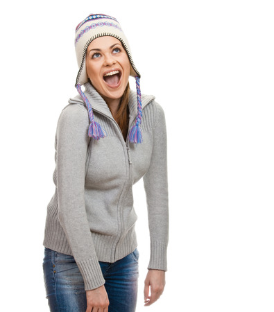 positiv: Female portrait in cap with open mouth. Isolated on white