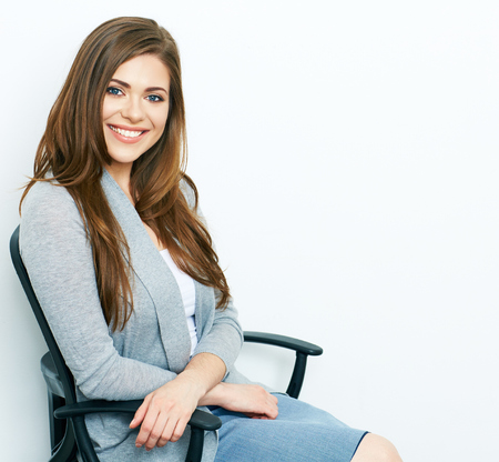 chear: Business woman relax on office chear. white background isolated portrait. Big Smile with teeth.