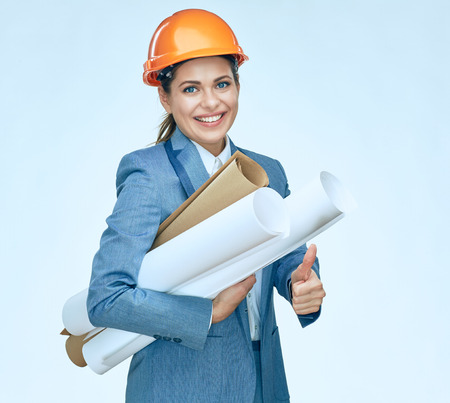 Smiling engineer architect woman showing thumb up. Isolated portrait. Business suit.