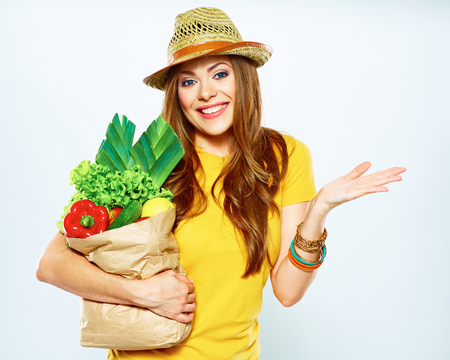 diet concept photo with hopelessness woman from vegan food . studio portrait. Stock Photo