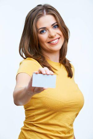 Woman holding blanc card. Isolated on white background smiling female portrait.