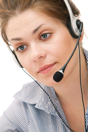 hotline: Portrait of young attractive woman working at office. Isolated.