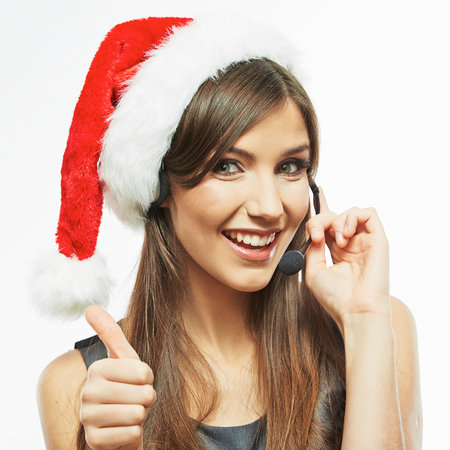 Operator call center woman , christmas Santa hat . isolated .