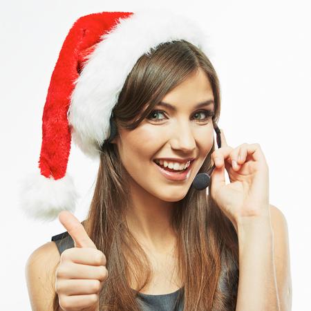 Operator call center woman, christmas kerstmuts. geïsoleerd. Stockfoto