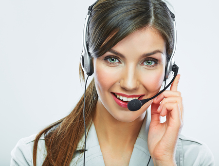 customer service representative: Customer support operator close up portrait.  call center smiling operator with phone headset.