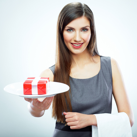 Business woman concepts portrait. Woman hold plate with bonus, gift box.