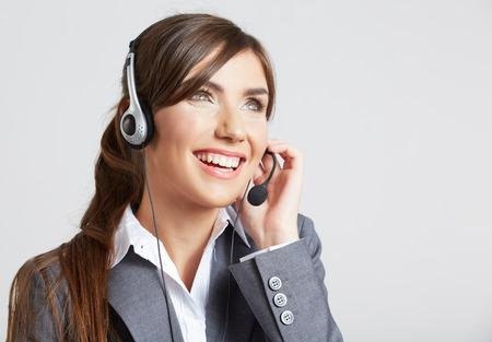Sluit omhoog portret van de dienstarbeider van de Vrouwenklant, call centre glimlachende exploitant met telefoonhoofdtelefoon Stockfoto