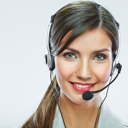 Customer support operator close up portrait.  call center smiling operator with phone headset.
