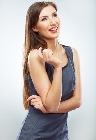 Ritratto di giovane donna d & # 39 ; affari sorridente sfondo bianco isolato. femminile modello femminile business telemarketer