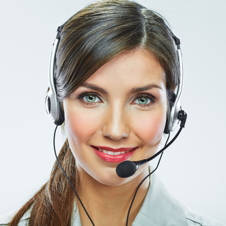 Klant ondersteuning exploitant close-up portret. call center lachend operator met telefoon headset. Stockfoto