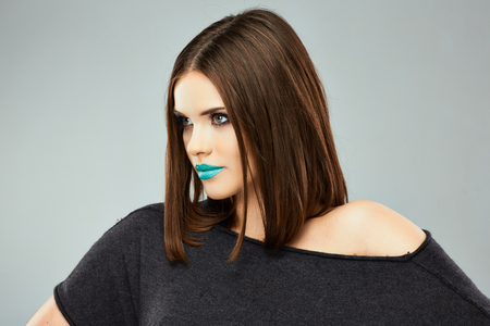 streight: Beauty woman with blue lips, streight hair. Young model. Stock Photo