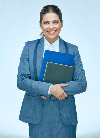 Businesswoman hold business paper isolated portrait. Smiling woman in business suit. Stock Photo