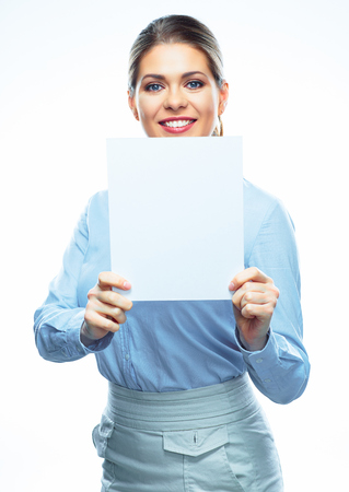 Business woman hold blank card. White board. Isolated female portrait on white background. Stock Photo