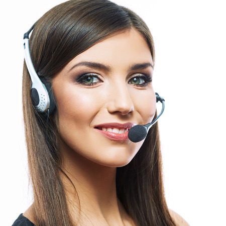 Headset woman customer service worker, call center,  smiling operator with headset .