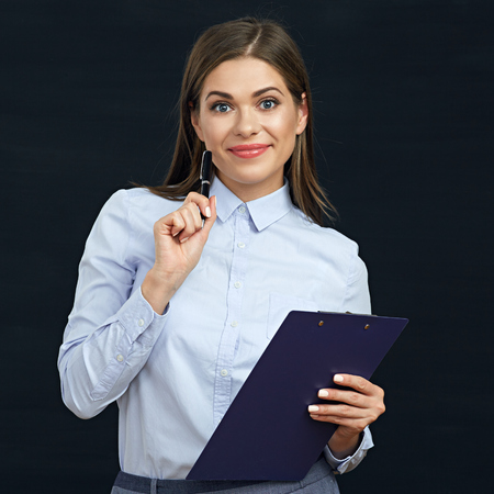 questions: Social employee woman holding clipboard. Black background.