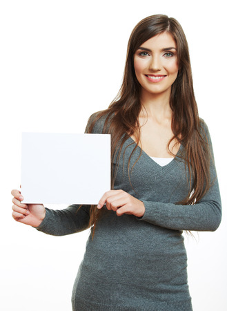 Smiling woman hold blank board . female model portrait, blank card.