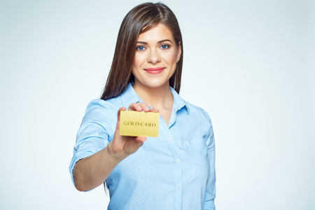 Credit card business woman holding. Smiling face.